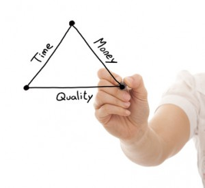 hand drawing a diagram with the balance between time, quality and money in a project development